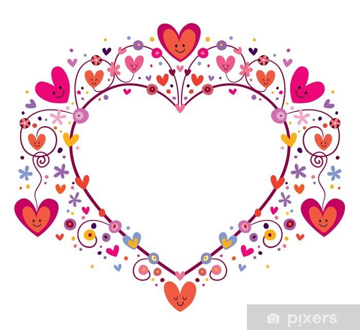 Papier peint vinyle Cadre de coeur mignon - Bonheur
