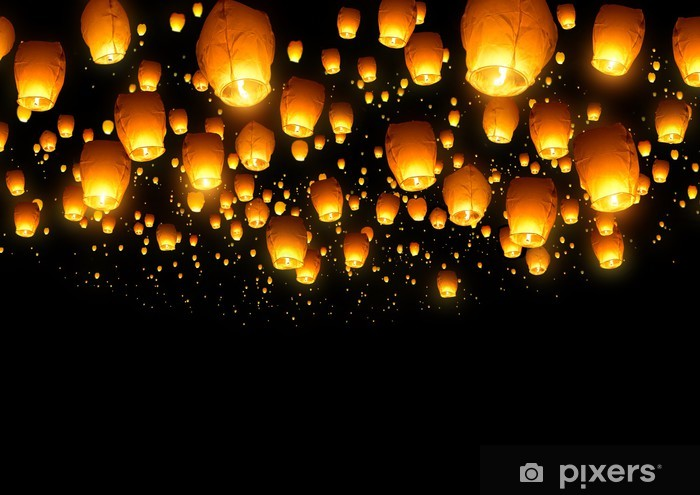 Chinese Fly Lanterns Vinyl Wall Mural - Styles