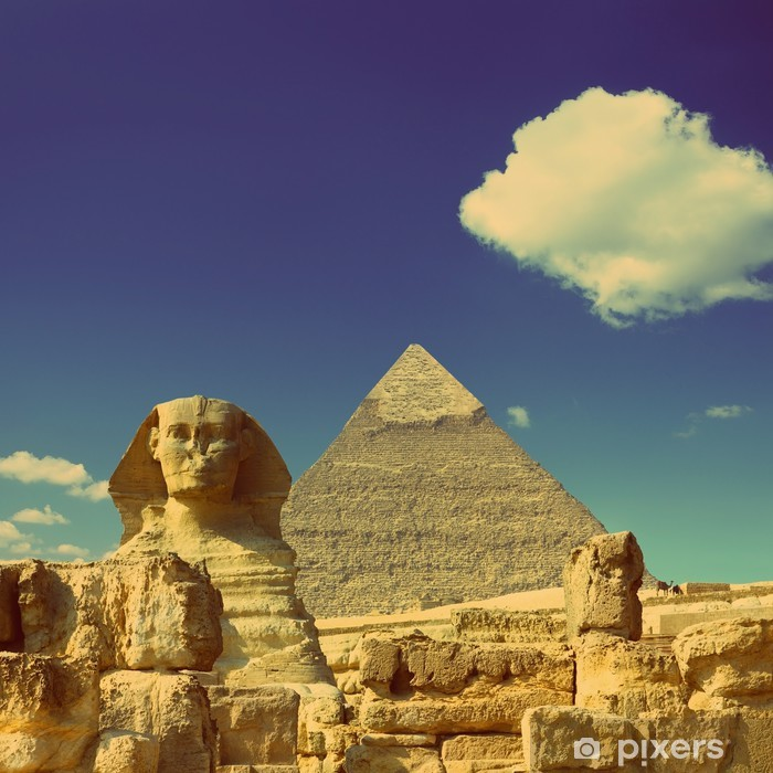 Cheops pyramid and sphinx in Egypt - vintage retro style Vinyl Wall Mural -  Africa