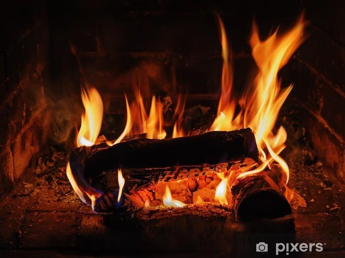 Sticker Pixerstick Cheminée avec bois de bouleau et de la flamme. - Thèmes