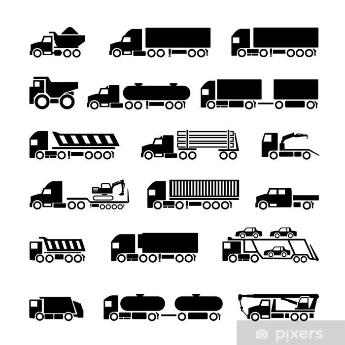 Fotomural Camiones, remolques y vehículos iconos conjunto • Pixers ...