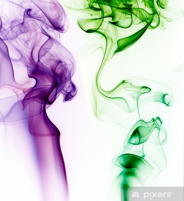 Carta Da Parati In Vinile Fumo Viola E Verde Su Sfondo Bianco