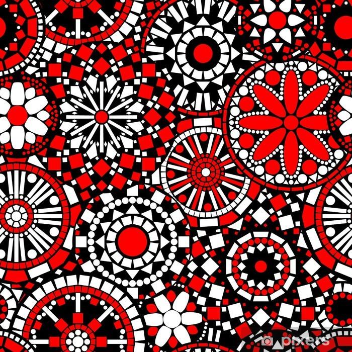 Fototapete Kreis Blumen Mandalas Nahtlose Muster In Schwarz Weiß Rot