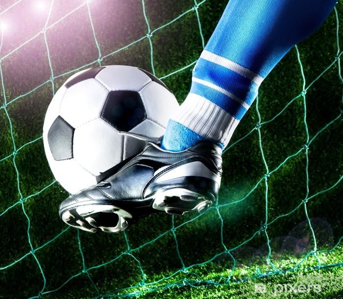 Foot kicking soccer ball Self-Adhesive Wall Mural - Destinations