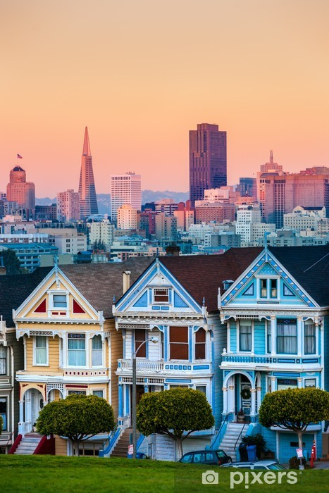 The Painted Ladies of San Francisco, California, USA. Pixerstick Sticker - American Cities