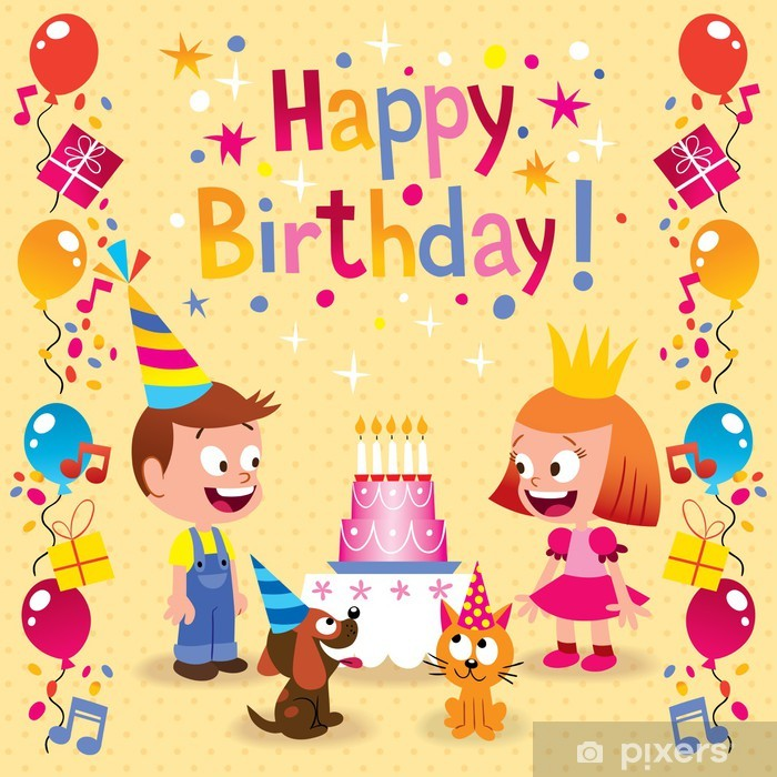 Happy Birthday Kids Card Vinyl Wall Mural