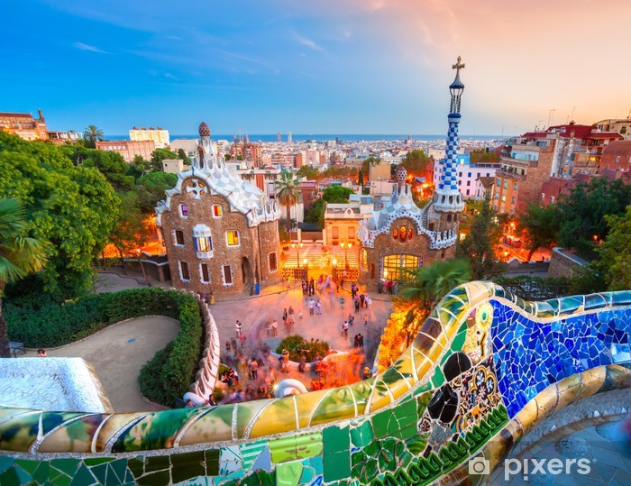 Park Guell in Barcelona, Spain. Vinyl Wall Mural - Themes