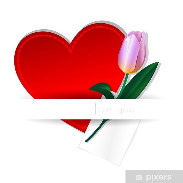 Fototapeta winylowa Serce i tulipan - Kwiaty