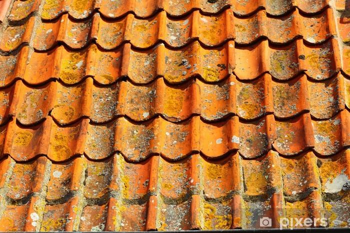 Fotobehang oude tegels rode dak als achtergrond u2022 pixers® we leven