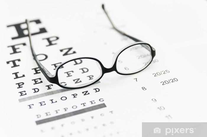 0d3dbfb1a498 Glasses on eye chart Pixerstick Sticker - Health and Medicine