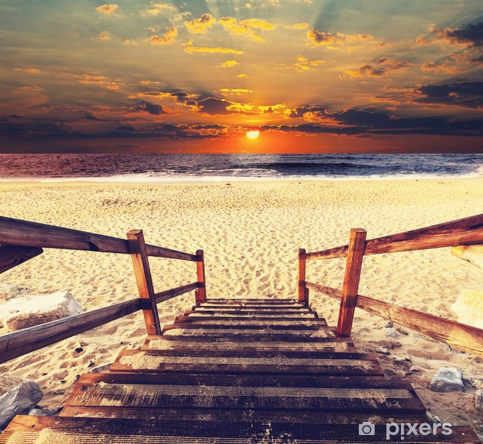 Boardwalk on beach Poster - Holidays