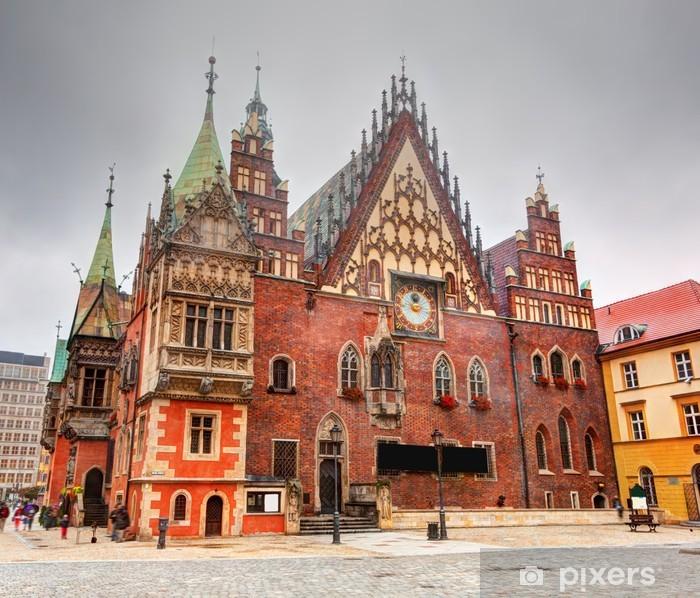 Papier peint vinyle Wroclaw, en Pologne. La mairie sur la place du marché. Silésie - Thèmes