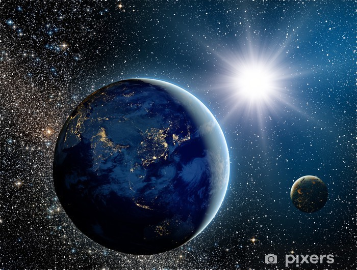 Sunrise over the planet and satellites in space. Pixerstick Sticker - Universe
