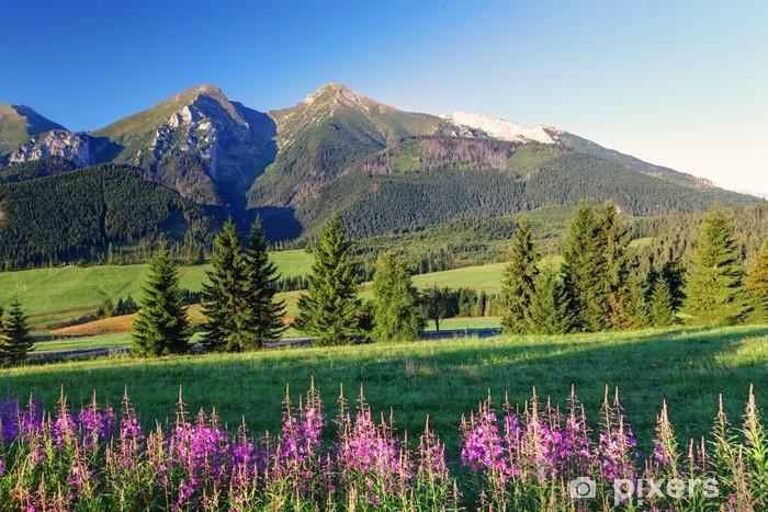 Pixerstick Klistermärken Skönhet bergspanorama med blommor - Slovakien - Teman