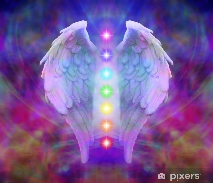 Reiki Angel Wings and Seven Chakras Vinyl Wall Mural - iStaging