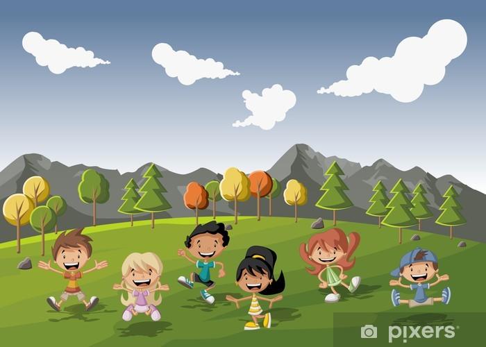 Papier peint groupe d 39 enfants mignons de dessin anim heureux de jouer dans le parc verdoyant - Dessin groupe d enfants ...