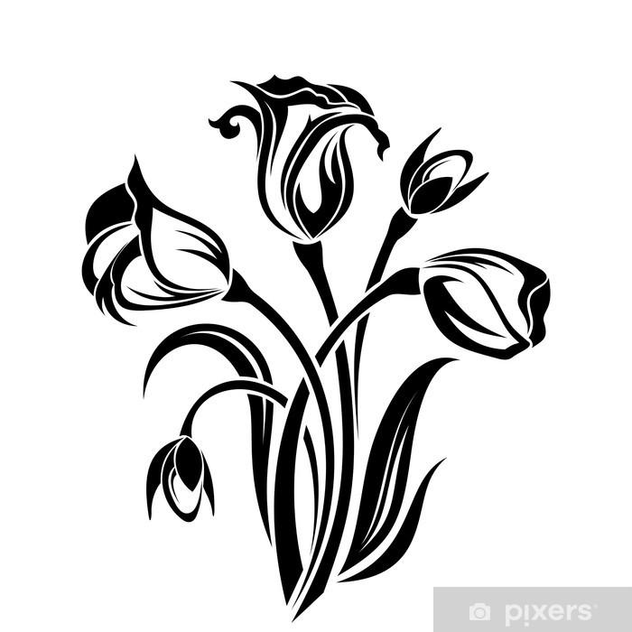 Black silhouette of flowers. Vector illustration. Poster