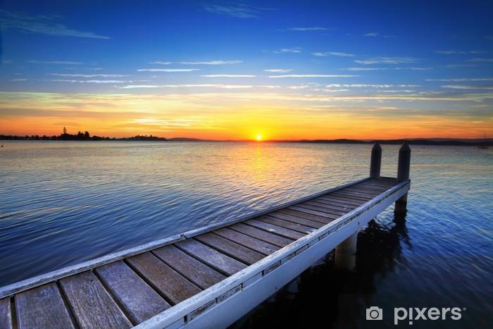 Sticker Pixerstick Soleil couchant derrière la jetée, lac Macquarie - Thèmes