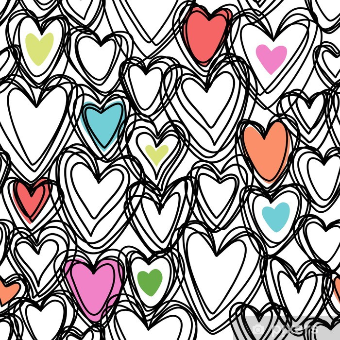 Seamless pattern with doodle hearts Vinyl Wall Mural -