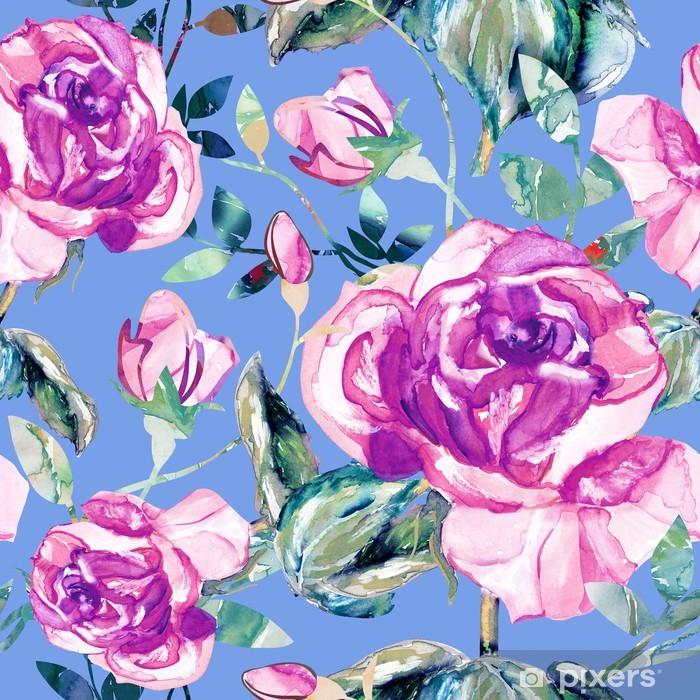 Poster Lila Rosen nahtlose Muster - Kunst und Gestaltung