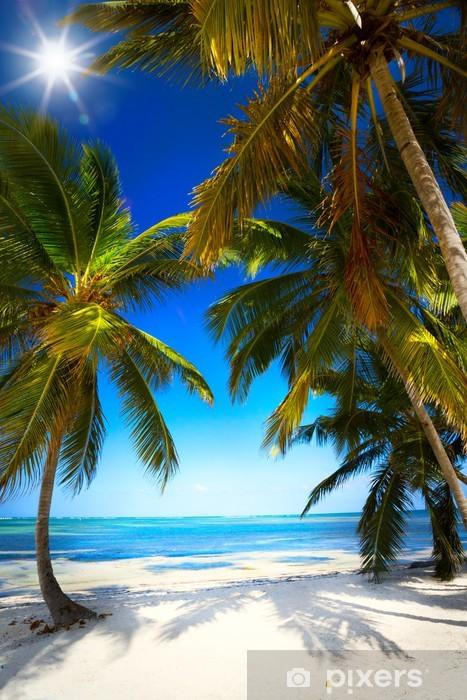 Zelfklevend Fotobehang Art zomer Ongerepte tropische strand - Palmbomen