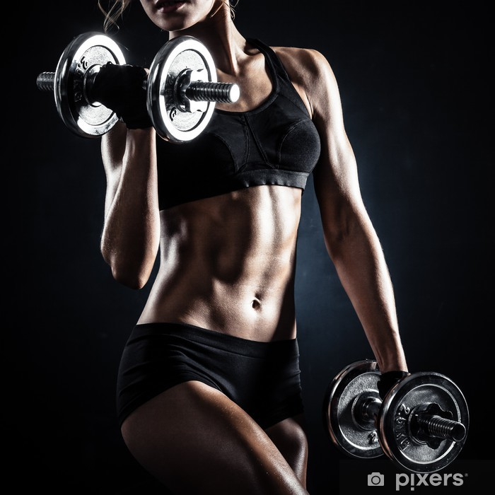 Fitness with dumbbells Poster -