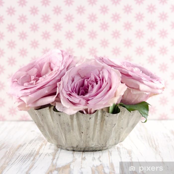Póster Ramo de rosas de color rosa - Flores