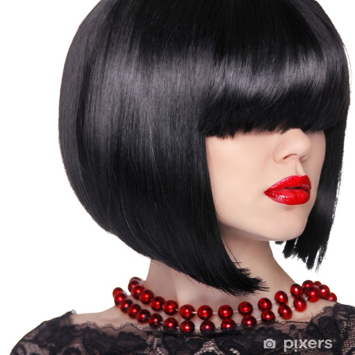 5451afec2f Vinilo Pixerstick Peinado corto negro. Mujer morena retrato. Labios rojos.  Bob ha -