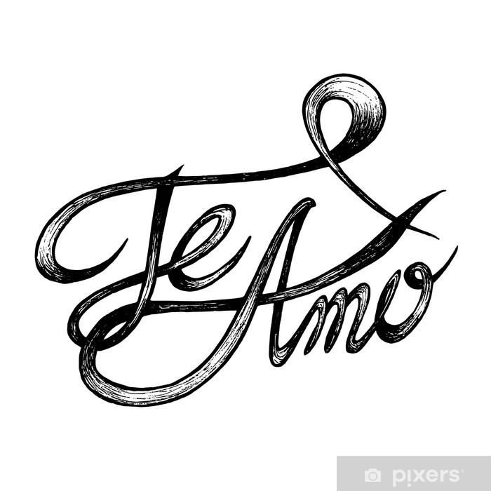 Te Amo I Love You Hand Drawn Quotes Black On White Poster