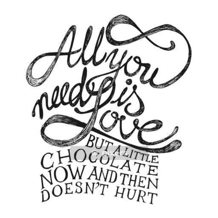 All You need is Love - Hand drawn quotes, black on white Wall Decal - Styles