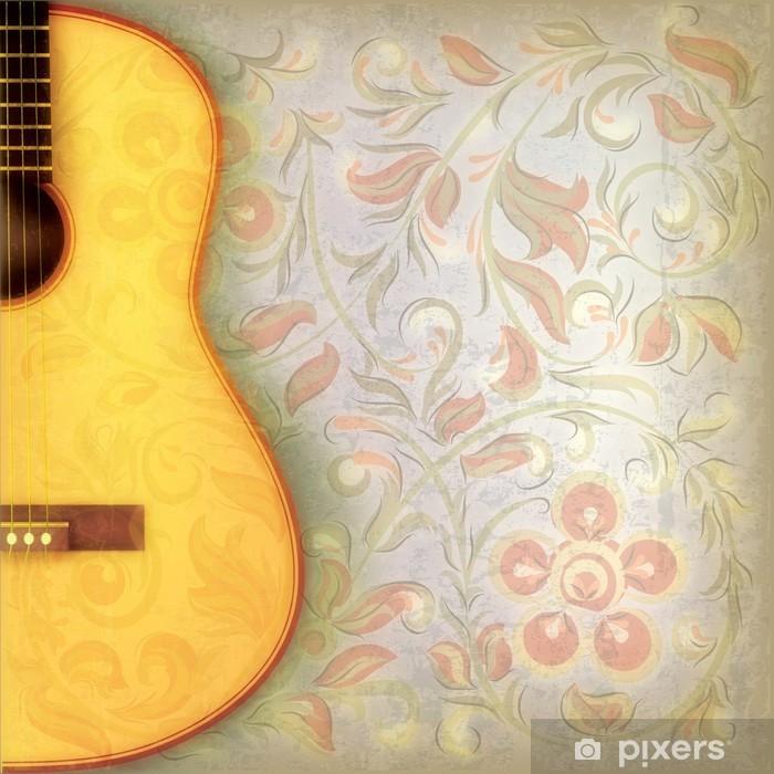 Carta da Parati in Vinile Musica grunge astratto con chitarra e ornamento floreale - Temi