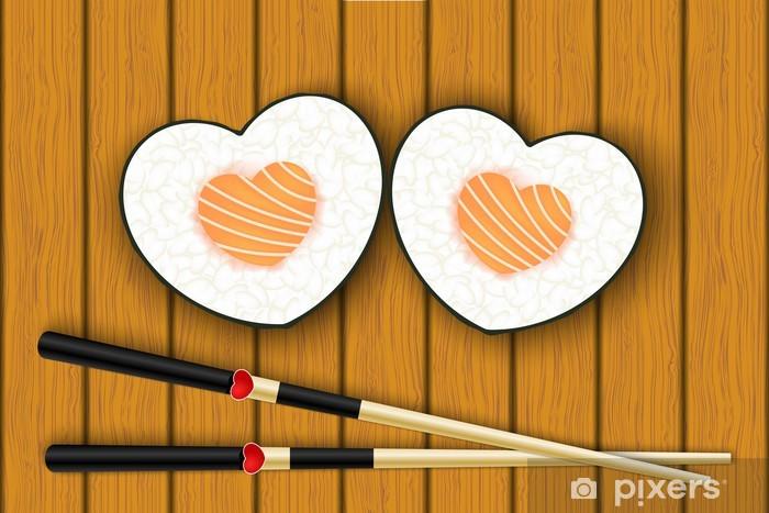 Papier peint vinyle Sushis et baguettes en forme de coeur - Sushi