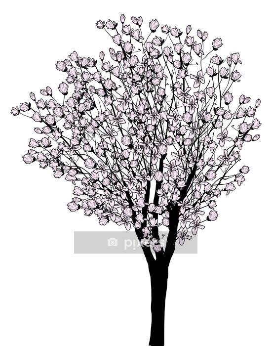 Muursticker Witte Boom.Muursticker Magnolia Bloesem Boom Geisoleerd Op Wit