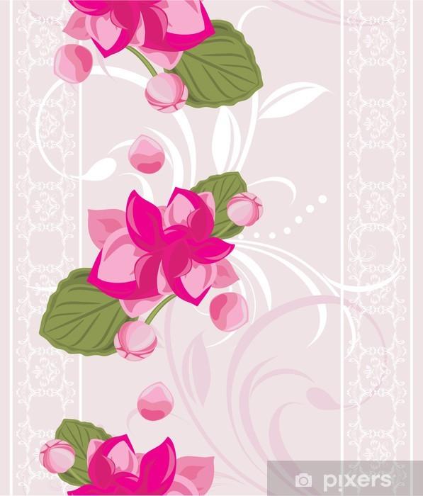 Carta Da Parati Sfondo Ornamentale Con Pizzo Bianco E Rosa Fiori