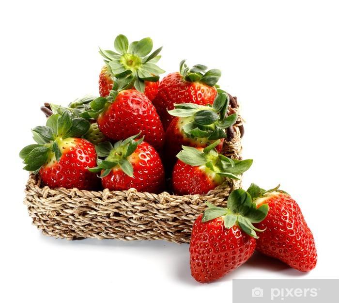Sticker Pixerstick Panier de fraises - Fruits