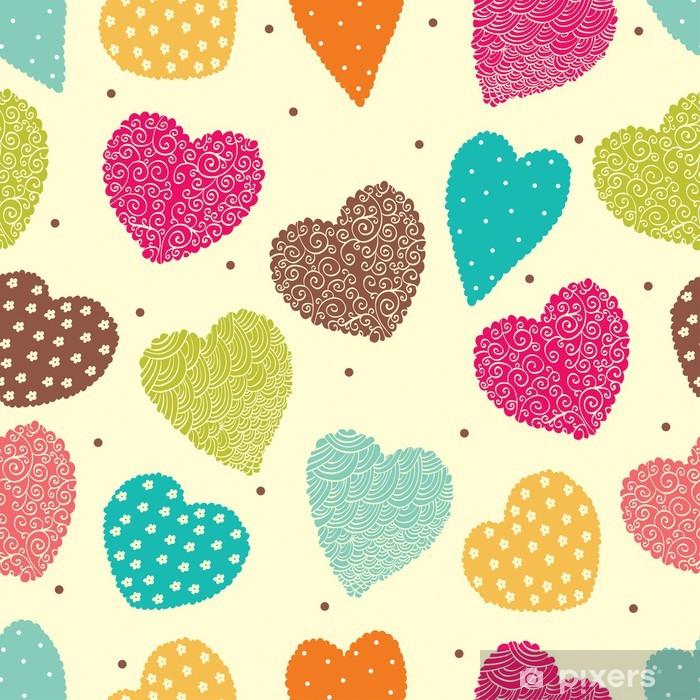 Sticker Pixerstick Mignon seamless avec des coeurs. - Arrière plans