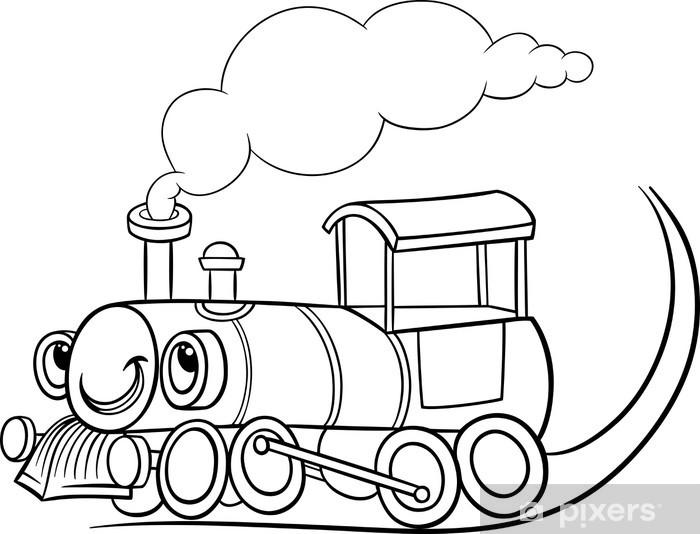 Karikatür Lokomotif Veya Motor Boyama Duvar Resmi Pixers Haydi