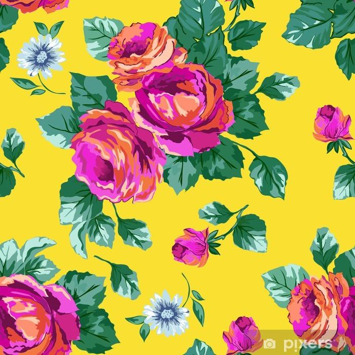 Sticker Pixerstick Roses roses lumineux de fond sans soudure - Arrière plans