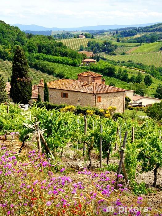 Sticker Pixerstick Voir à travers les vignobles avec maison en pierre, Toscane, Italie - Thèmes