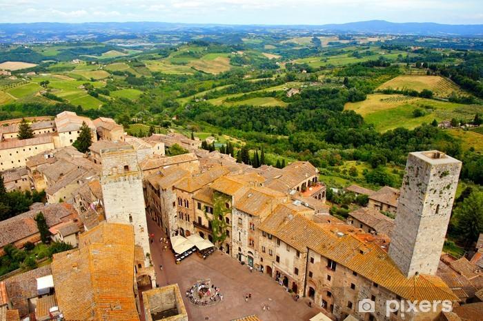 Nálepka Pixerstick Letecký pohled na město San Gimignano, Toskánsko, Itálie - Evropa