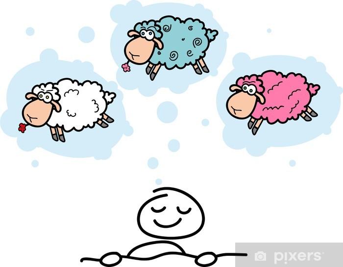 Naklejka Pixerstick Cartoon owiec i słodkie spania mężczyzn - Wakacje