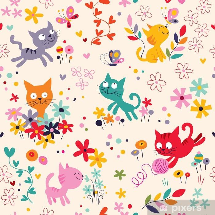 Fotomural Estándar Patrón de lindos gatitos - Para niña