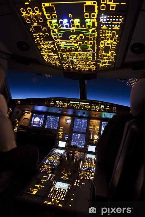 Cockpit of aircraft in a night flight Pixerstick Sticker - Air