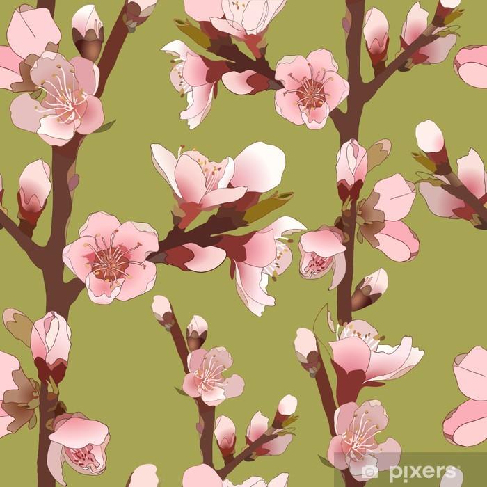 Papier peint vinyle Seamless Avec floraison Fleurs roses. - Plantes