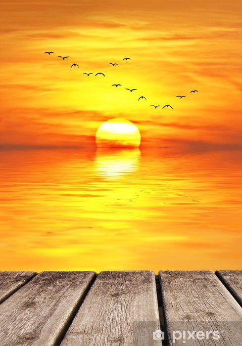 Papier peint vinyle Coucher de soleil sur la mer - Vacances