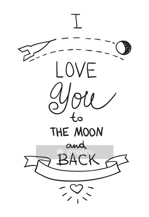 Muursticker Handgetekende citaat over liefde - Thema's