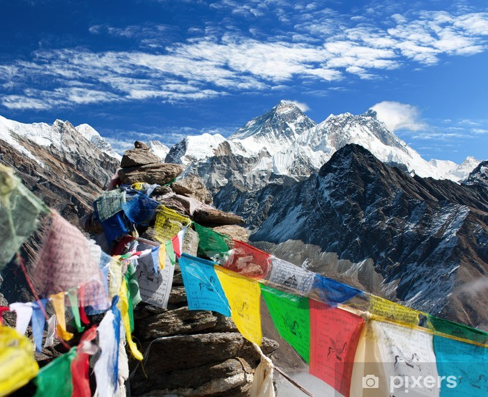 view of everest from gokyo ri with prayer flags - Nepal Vinyl Wall Mural - Themes