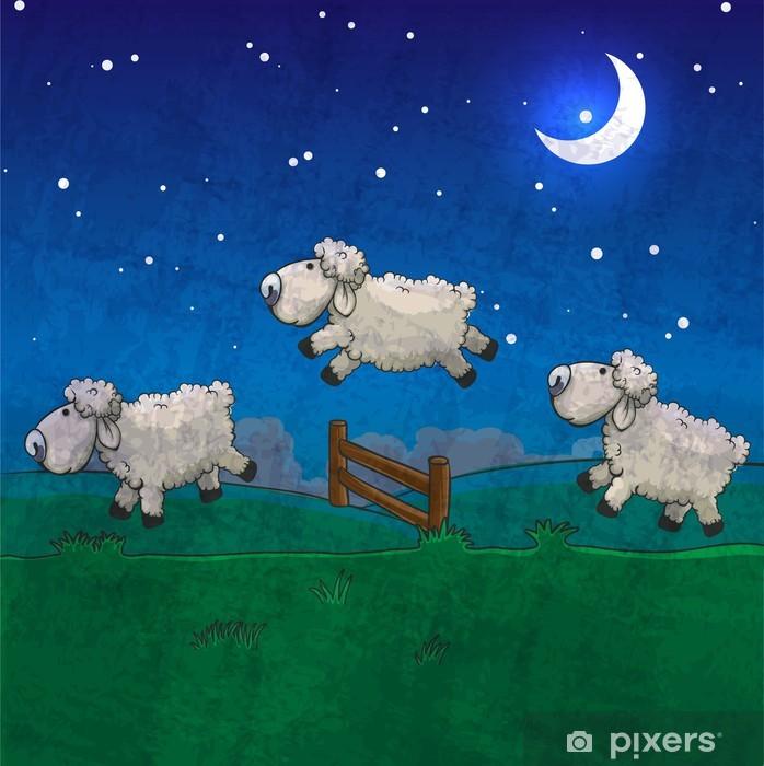 Papier peint vinyle Trois moutons sautant par-dessus la clôture. Comptez-les dormir. - Mammifères