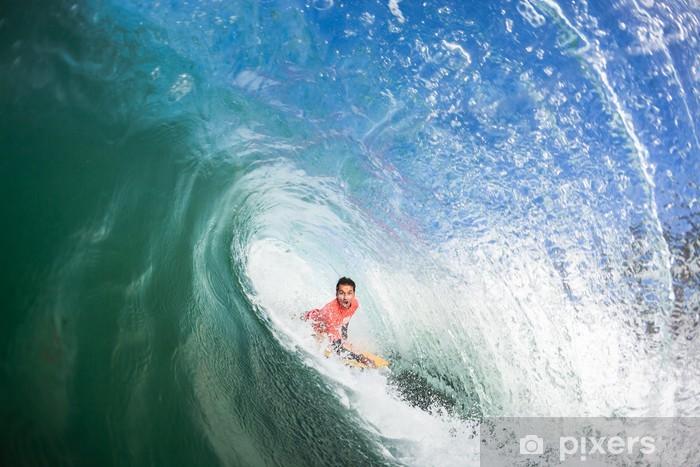 Surfing Bodyboarder Inside Hollow Wave Vinyl Wall Mural - Entertainment