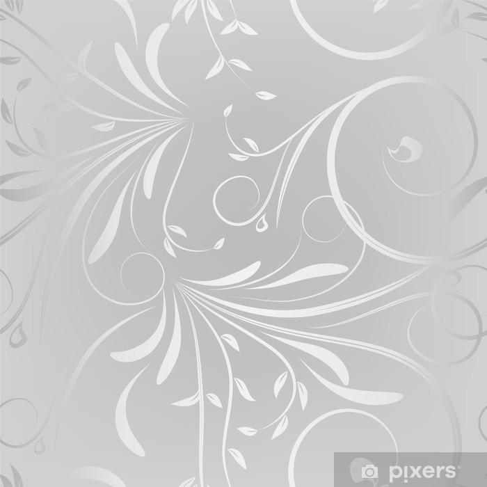 Gümüş Arka Plan üzerinde Sorunsuz Desen Duvar Resmi Pixers